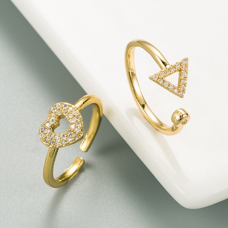 Korean copper micro-inlaid zircon hollow heart-shape ring NHLN334303's discount tags