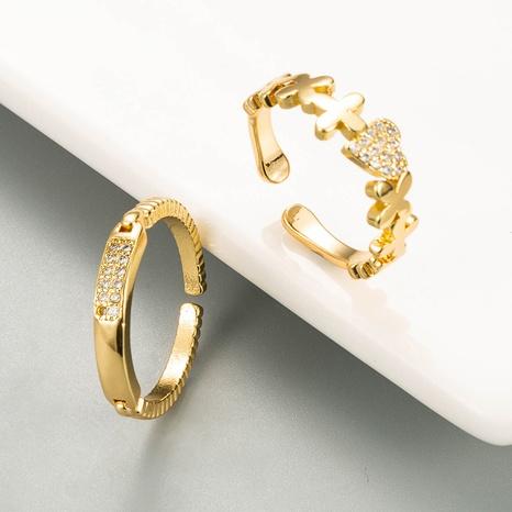 Fashion Heart-Shape Open Copper Zircon Ring NHLN334304's discount tags