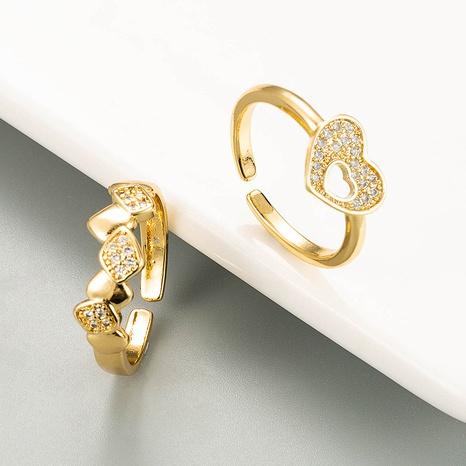 Bague en zircon micro-incrusté de cuivre ouvert en forme de coeur creux à la mode NHLN334307's discount tags