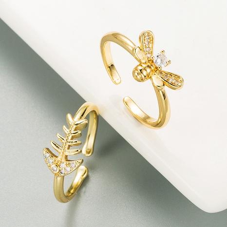 Bague en zircon micro-incrusté de cuivre doré à la mode petite abeille NHLN334309's discount tags