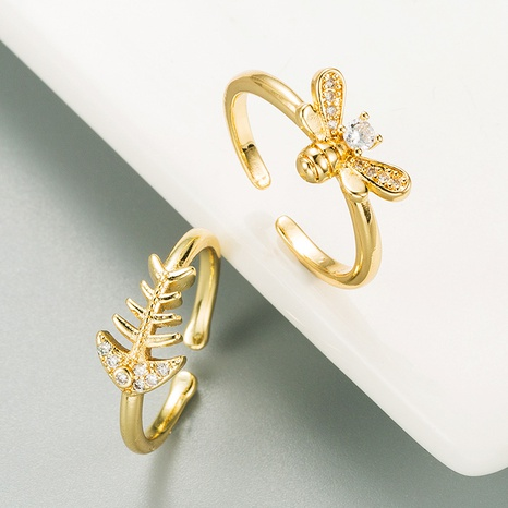 Fashion golden small bee copper micro-inlaid zircon ring NHLN334309's discount tags