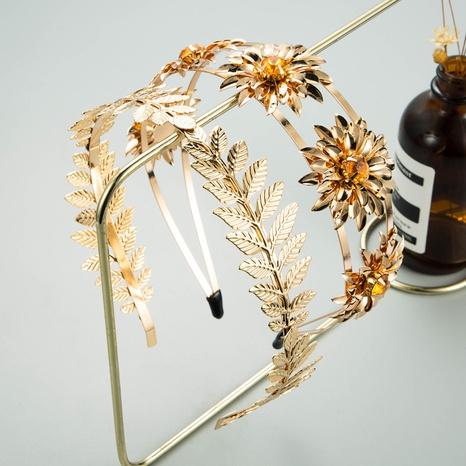 Baroque golden leaf flower double rhinestone headband NHLN334311's discount tags