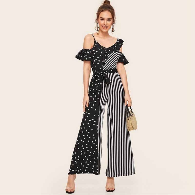 summer polka dot print stitching offtheshoulder long jumpsuit NHWA335881