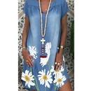 Womens printed loose Vneck dress NHWA335845