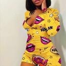 Printed Slim Long Sleeve Printed Sexy Jumpsuit NHWA335842