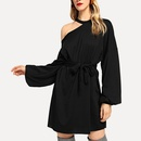 Summer sexy lace round neck solid color longsleeved short dress NHWA335833
