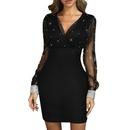 summer mesh stitching slim sexy longsleeved dress NHWA335827