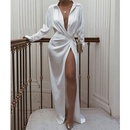 New laceup slit longsleeved printed dress NHJG334489