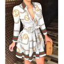 simple long Vneck Tie Fashion Sexy Printed Dress NHJC335821