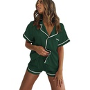 new fashion imitation silk pajamas shorts twopiece suit NHIS334395