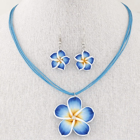 Korean fashion sweet petals necklace earrings set NHSC334392's discount tags