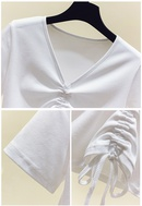 Vneck simple solid color Tshirt  NHZN334363