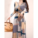 new Vneck tie wrap printed dress NHJG335072