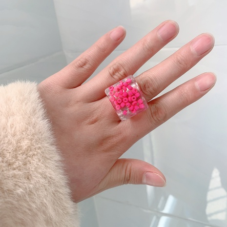 Anillo de resina de color sólido transparente de Corea NHJQ334317's discount tags