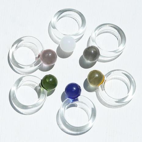 anillo de pareja de resina transparente simple NHJQ334320's discount tags