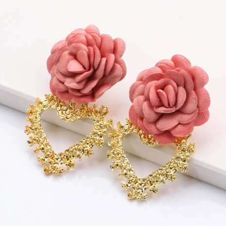 Fashion heart-shaped flower alloy earrings wholesale NHJJ334342's discount tags