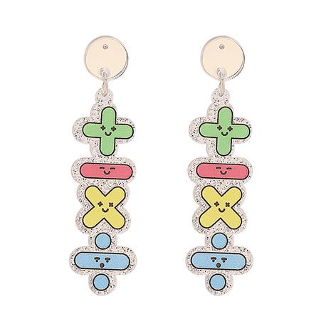 Fashion color letters plus minus symbols round long earrings NHJJ334341's discount tags