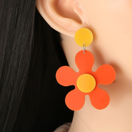 Korea acrylic color flower earrings wholesale NHJJ334353's discount tags
