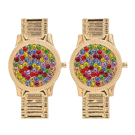 Korean watch shape rhinestone earrings wholesale NHJJ334354's discount tags