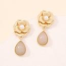 retro flower dropshaped pearl earrings NHMD334407