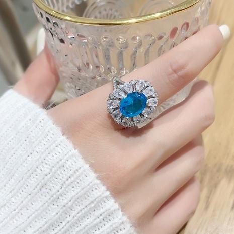 bague fleur en zircon bleu NHMS334453's discount tags