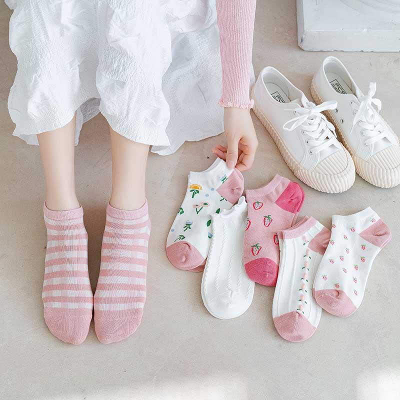 pink strawberry wild boat socks set NHBF334476