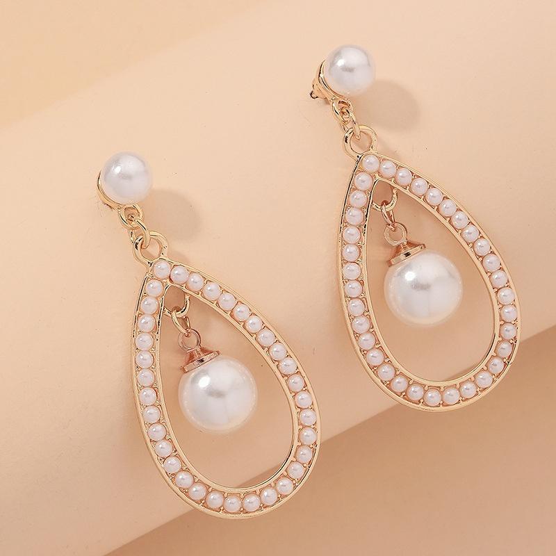 retro dropshaped pearl earrings NHNJ334714
