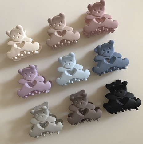 Korean frosted solid color bear hair clip NHCQ334736's discount tags