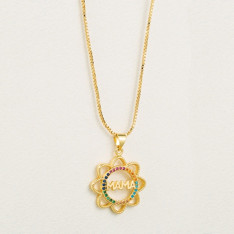 Fashion Hollow Sun Flower Copper Micro-inlaid Zircon Necklace NHLN334748's discount tags