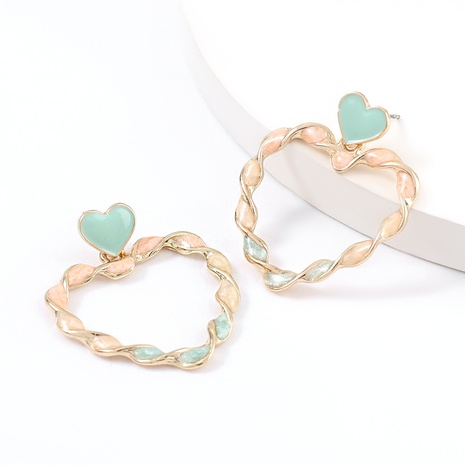 Fashion twist-shaped alloy drop oil heart-shaped earrings  NHJE334765's discount tags