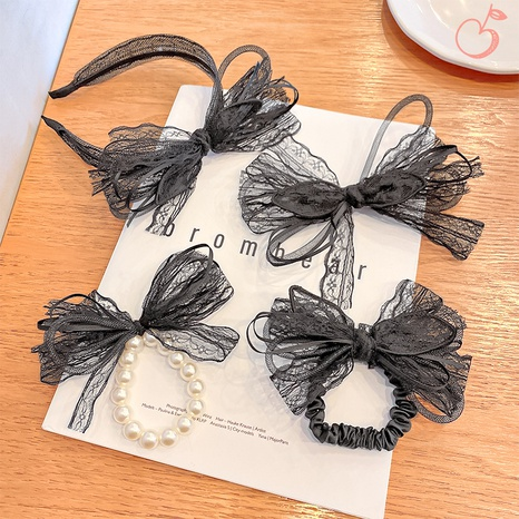 fashion lace bow pearl hairpin  NHNA334773's discount tags