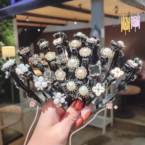 Geflochtenes Stirnband aus koreanischem Modeperlen-Strass NHNA334791's discount tags