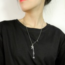 Fashion tassel lucky pony stainless steel necklace wholesale NHOP334895