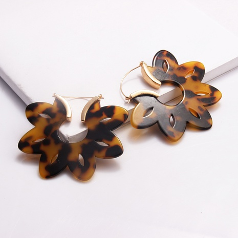 Retro Leopard Print Hollow Flower Acrylic Earrings NHAYN334906's discount tags