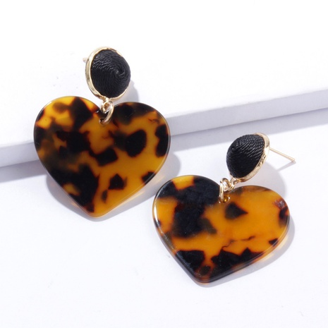 retro contrast color heart-shaped acrylic earrings  NHAYN334919's discount tags