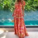 bohemian long printed dress NHKO335045