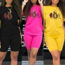 talk money listen printed round Tshirt shorts twopiece suit NHZN335034