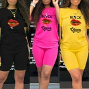 lip print round neck Tshirt shorts twopiece suit NHZN335033
