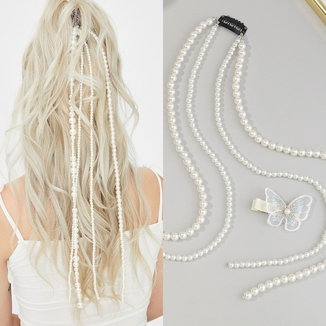 Serre-tête en chaîne de perles coréenne NHAU335077's discount tags