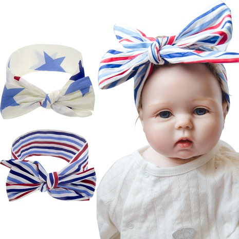 Kinder National Day Ears Star Stripes Geknotetes Stirnband NHWO335115's discount tags