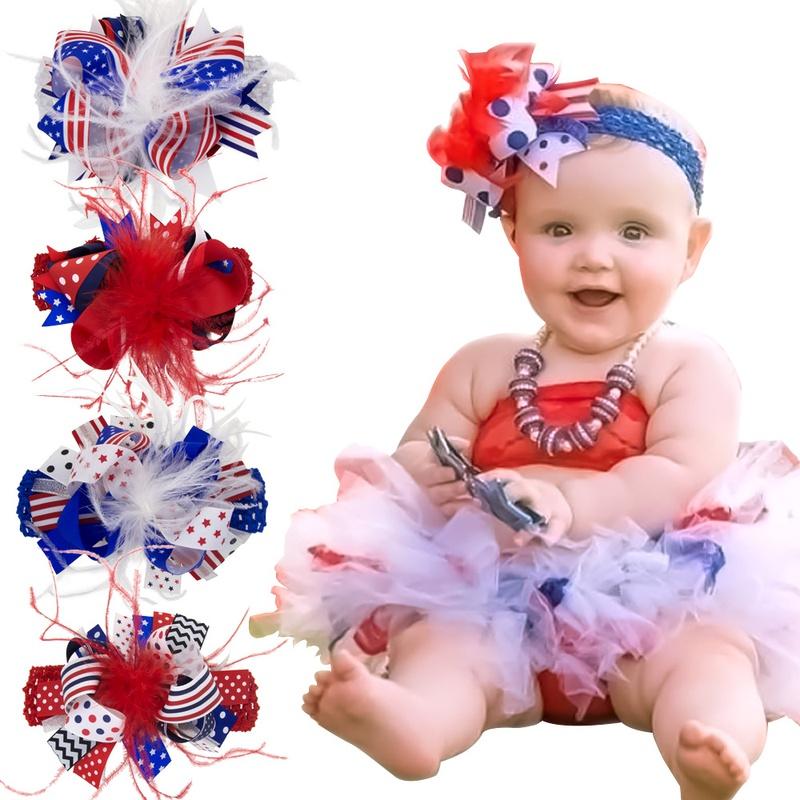 childrens feather bow style headband NHWO335116