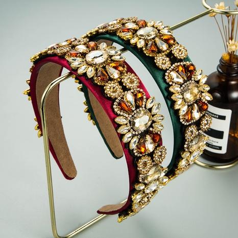 serre-tête en diamant en verre incrusté de fleurs en alliage baroque NHLN335119's discount tags