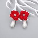 Fashion dropshaped pearl cloth flower earrings wholesale NHJJ335132