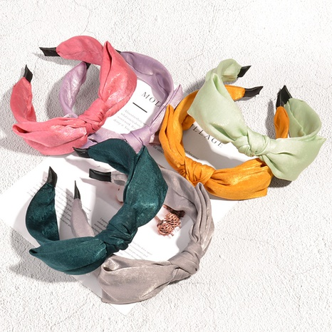 retro bow-knotted fabric headband NHAQ335164's discount tags