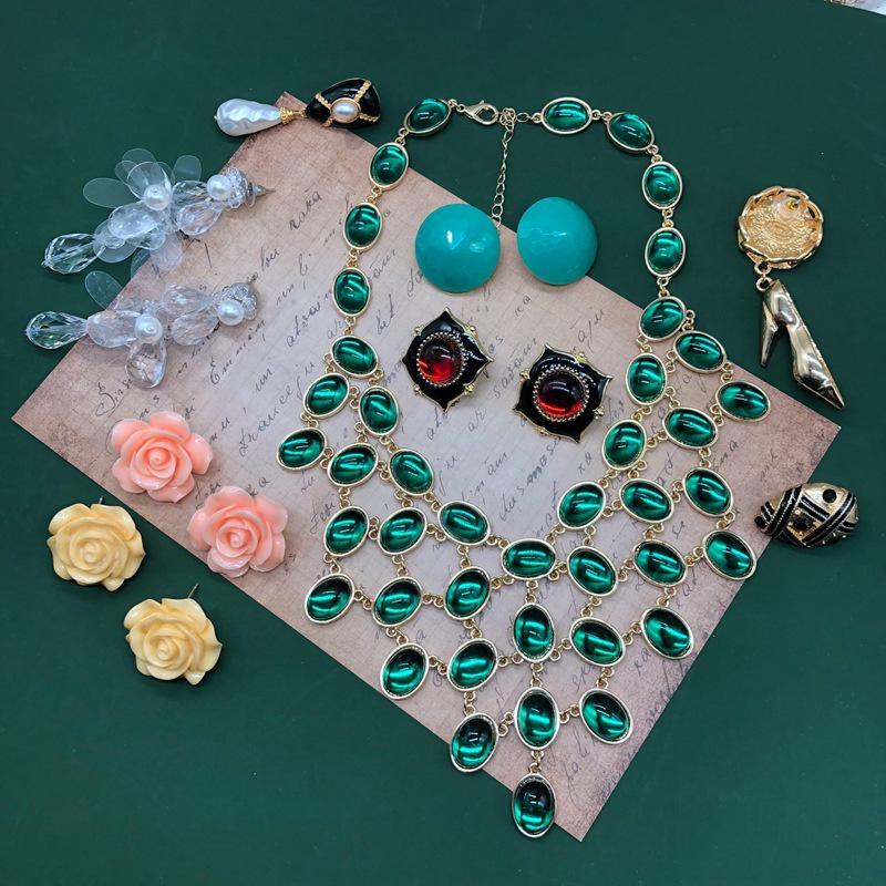 Fashion resin flower drip glaze transparent long earrings necklace set NHOM335217