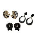 Retro drip glaze flower water drop hollow earrings NHOM335230