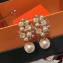 fashion white motherofpearl flower earrings  NHWK335252