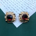 NHOM1551834-Red-straw-hat-silver-pin-stud-earrings