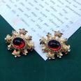 NHOM1551837-Red-multi-grid-925-silver-needle-stud-earrings