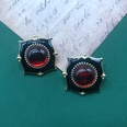 NHOM1551814-Black-drip-glaze-silver-pin-earrings-3CM-12g